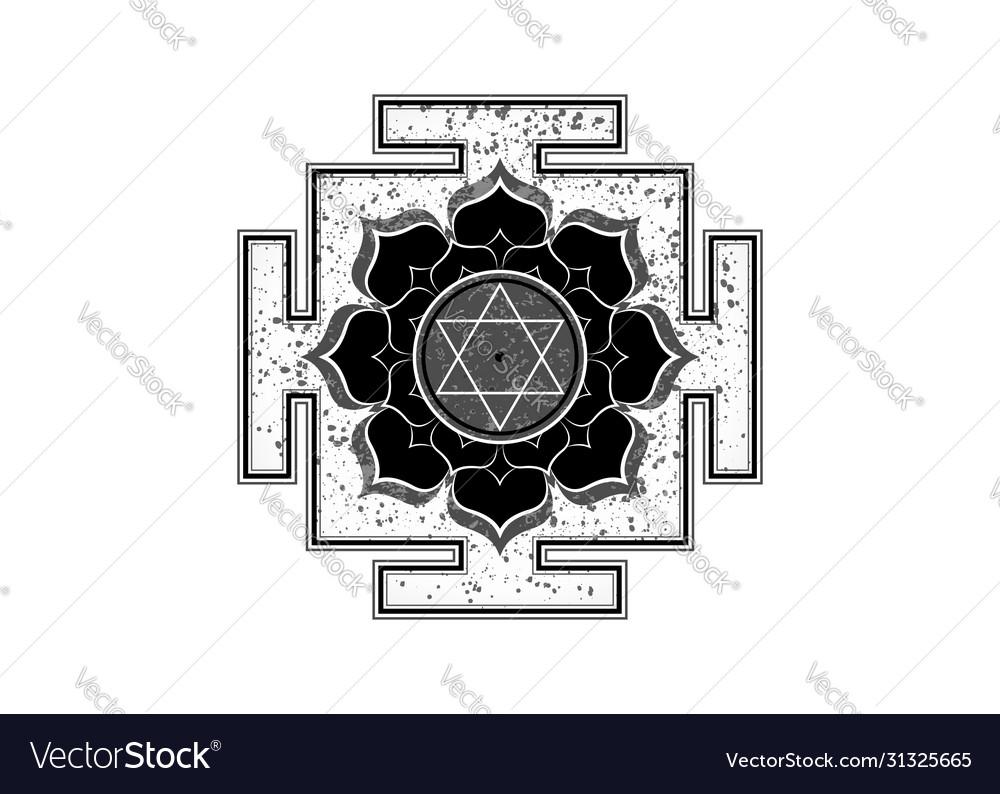 Old yantra design tibetan mandala lotus flower