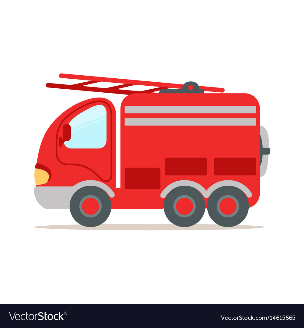 Red fire truck fire emergency colorful cartoon