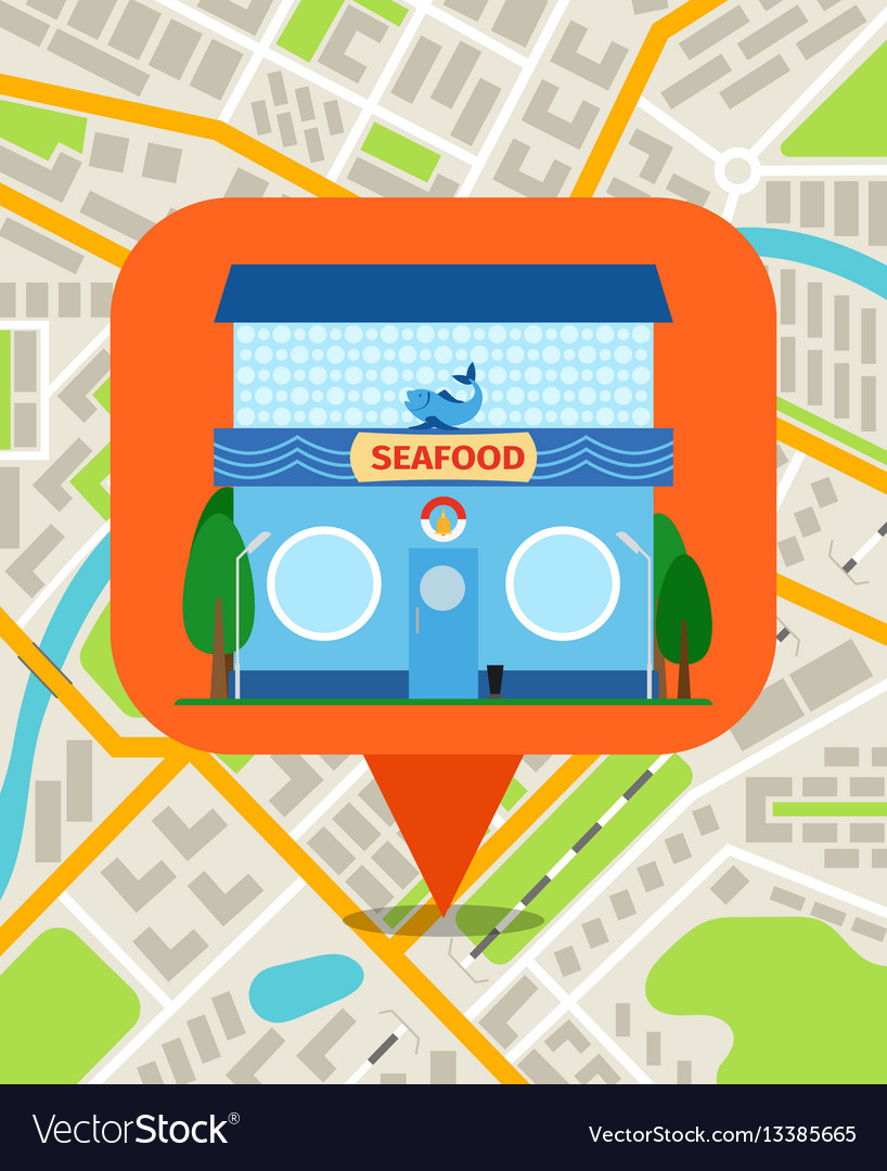 Seafood shop pin on map