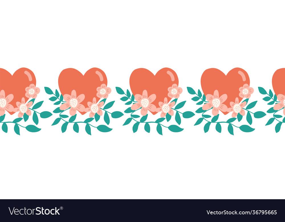 Seamless border hearts flowers love valentine