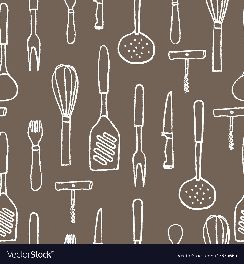 Seamless pattern of kitchenware white hand drawn