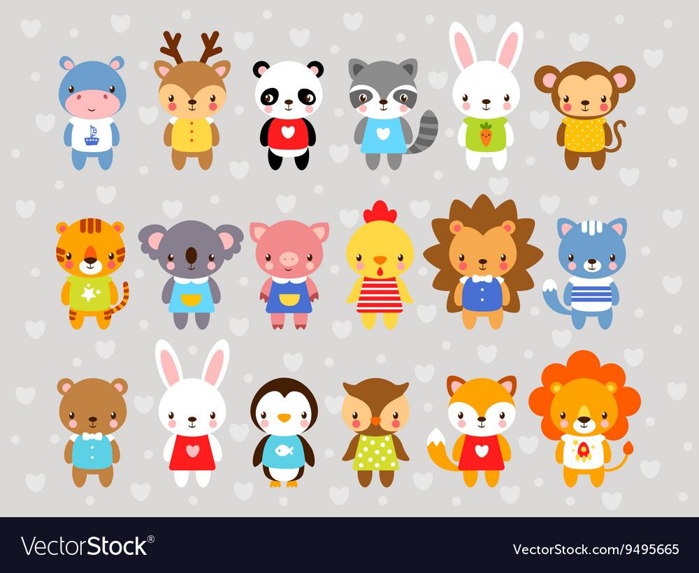 Set animals in cartoon style