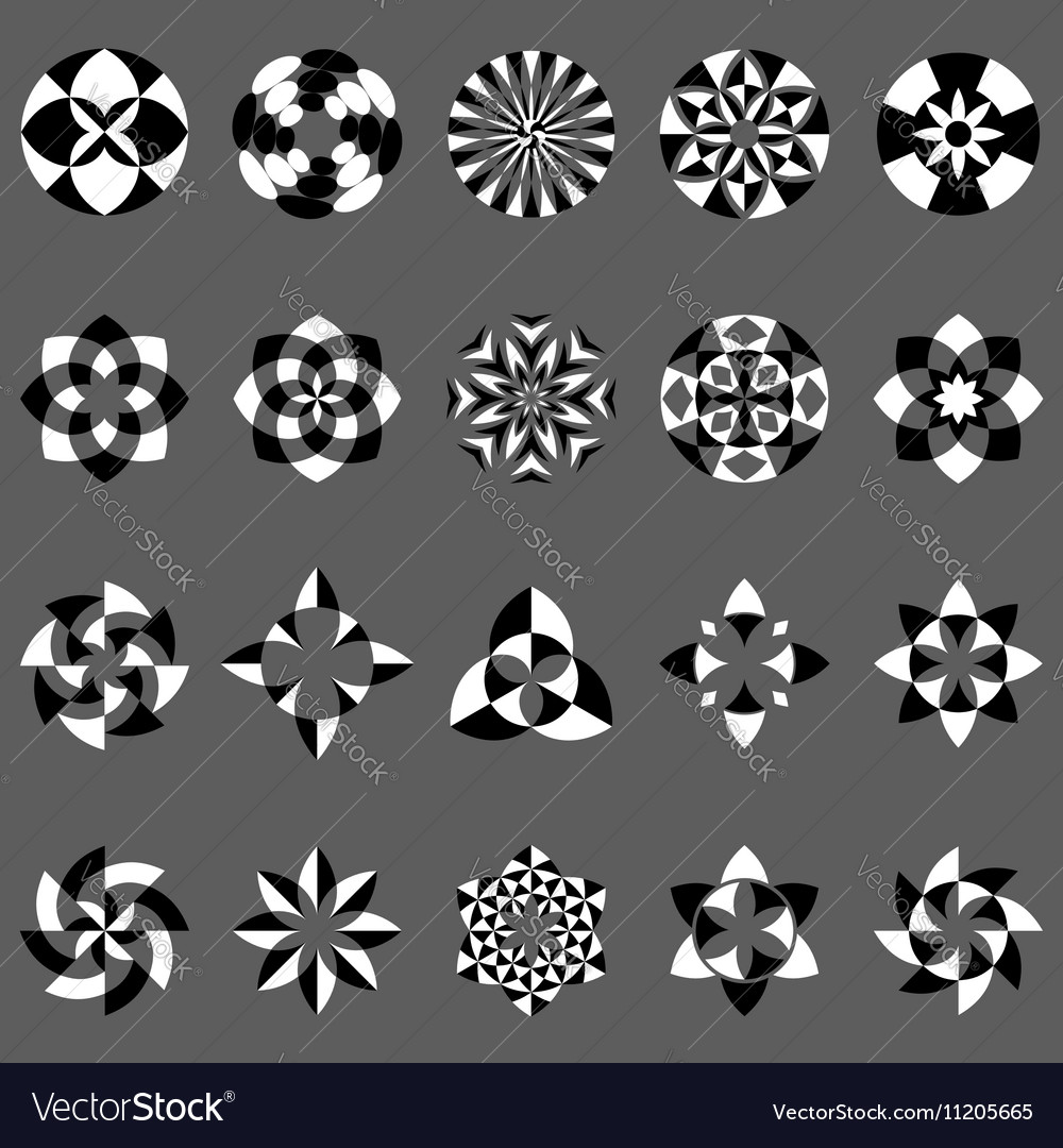 Set of abstract geometric elements and symbols
