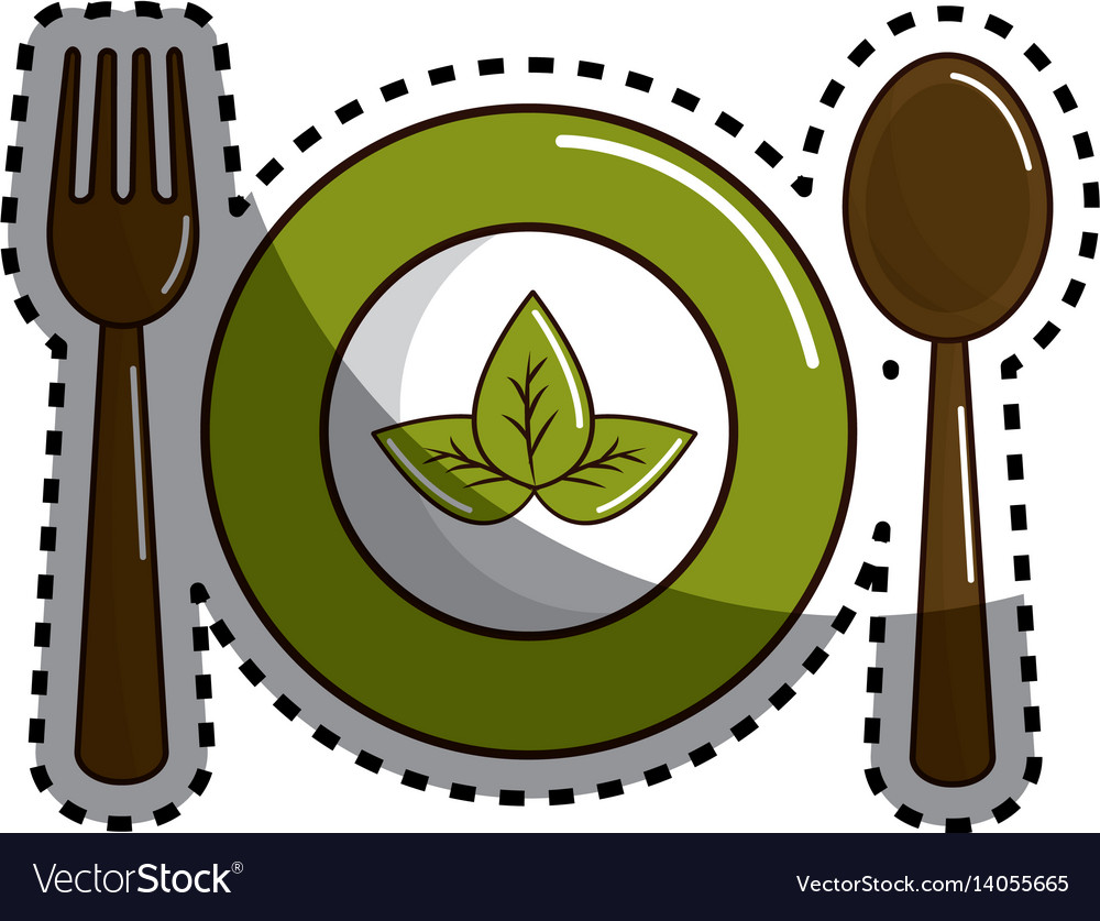 Sticker spoon fork and plate with leaves