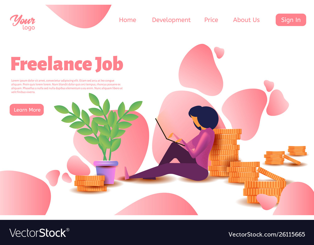 Woman freelancer character template for website