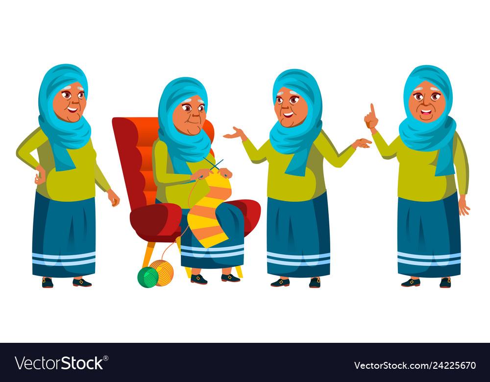 Arab muslim old woman poses set elderly