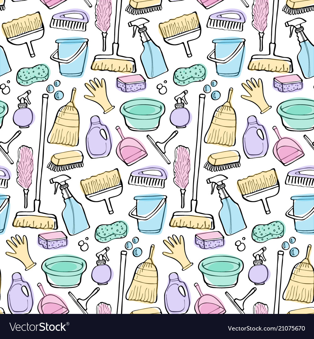 Cleaning tools doodle seamless pattern