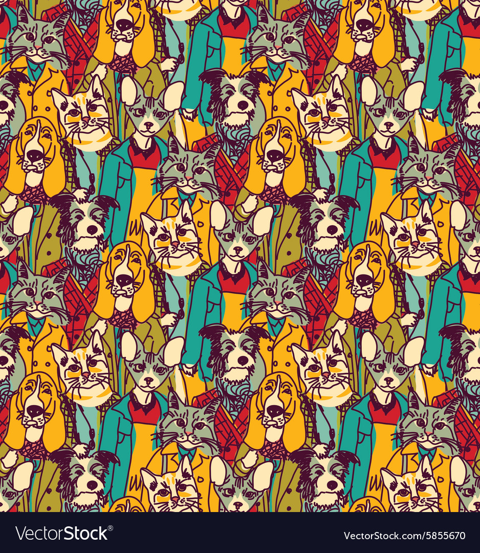Crowd people like cats and dogs seamless pattern