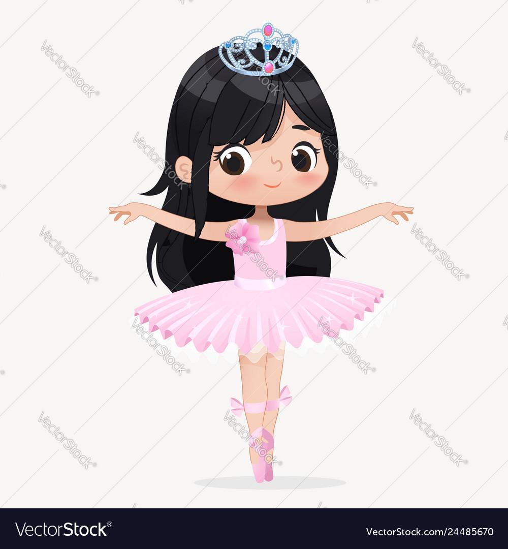 Cute child girl ballerina dancing isolated