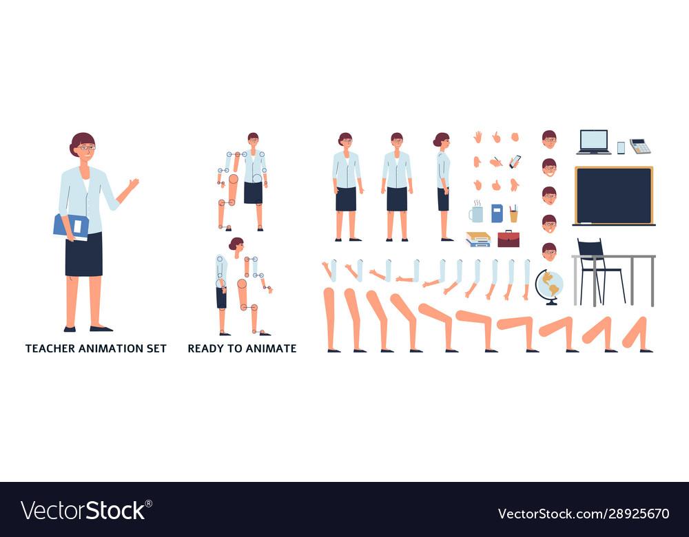 Female teacher in various poses animation set
