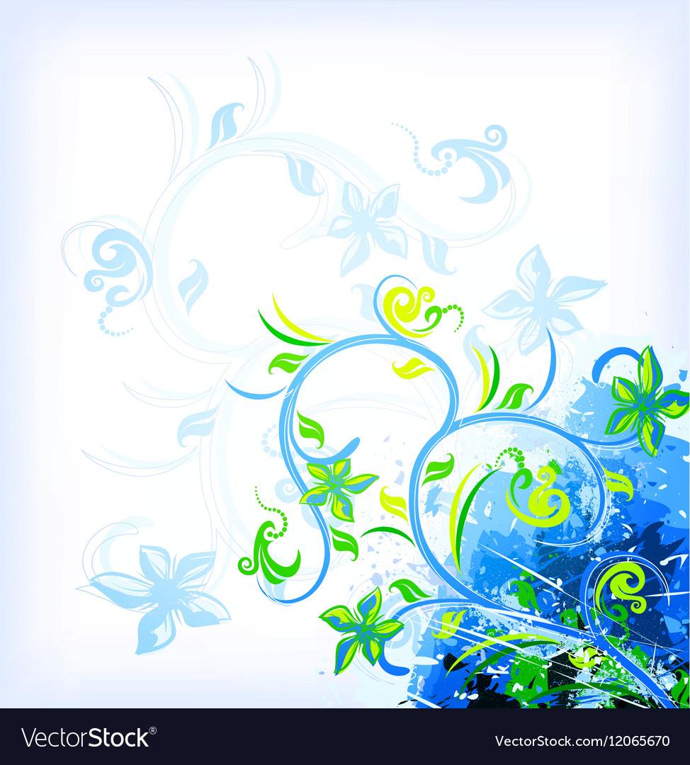 Floral blue on grunge background