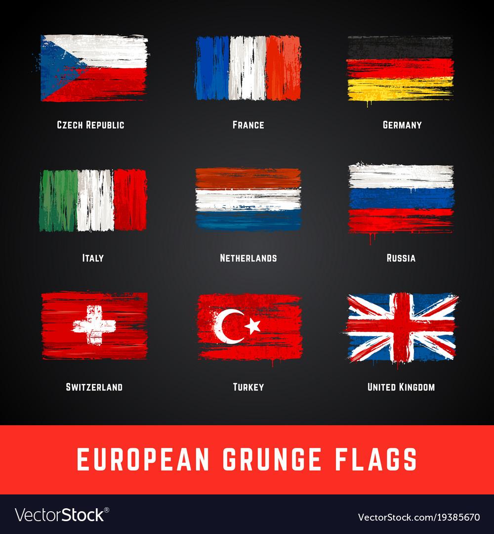 Grunge flags set
