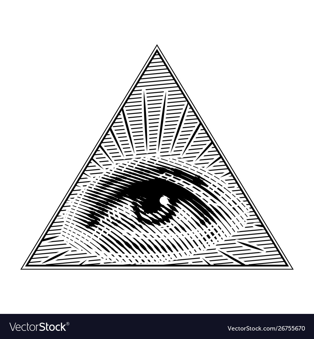 Human eye in a triangle in vintage style vector