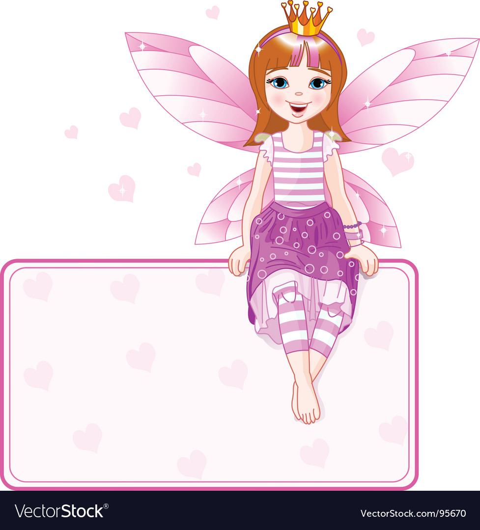 Little pink fairy place card vector image
