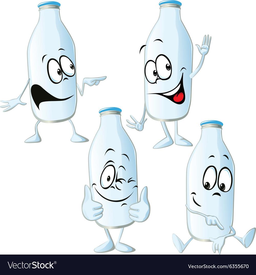 Milk bottle - funny cartoon