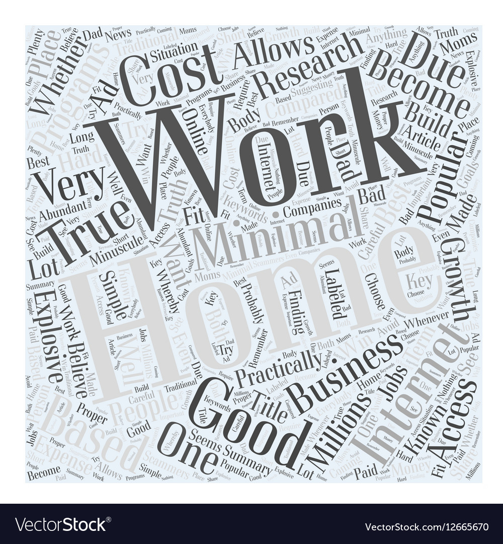 simple at home work word cloud concept royalty free vector
