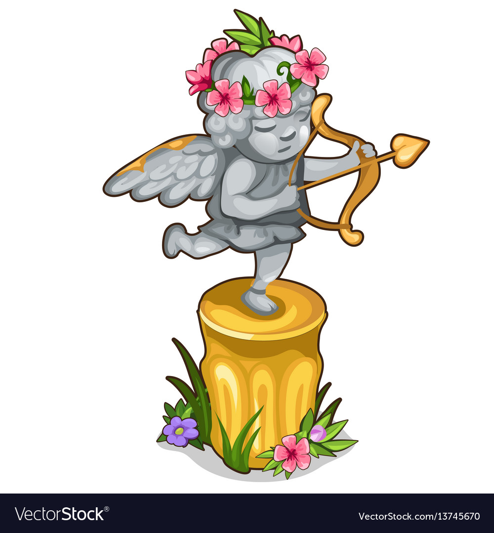 Statue little cupid with wings and golden bow