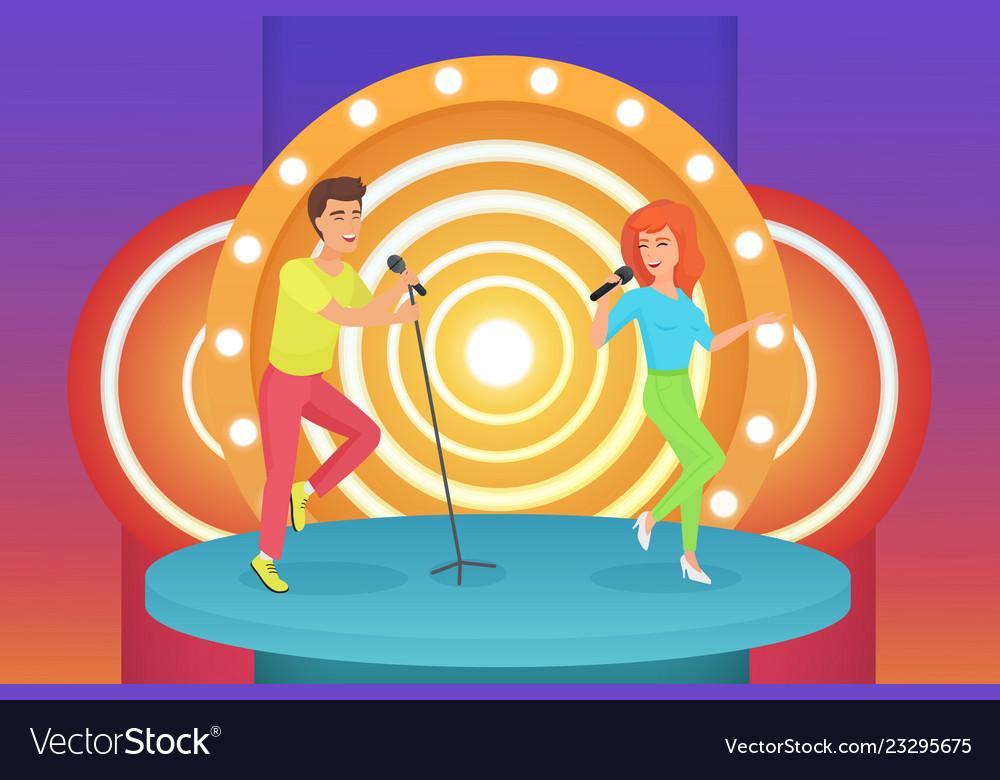 Couple man and woman singers singing karaoke