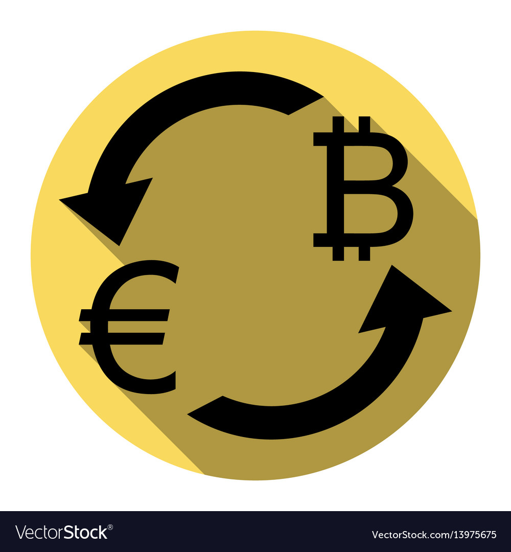 Currency exchange sign euro and bitkoin