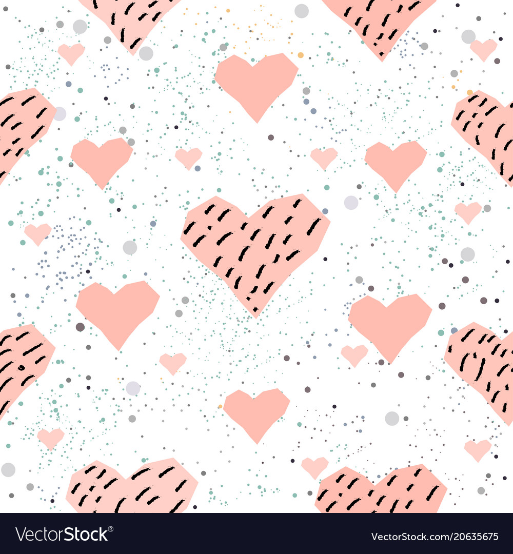 Cute hearts background seamless pattern with