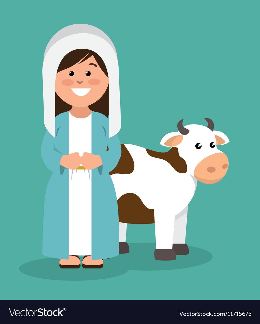 Cute virgin mary and cow