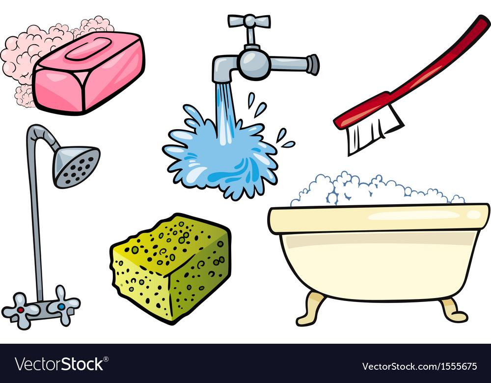 Hygiene objects cartoon set