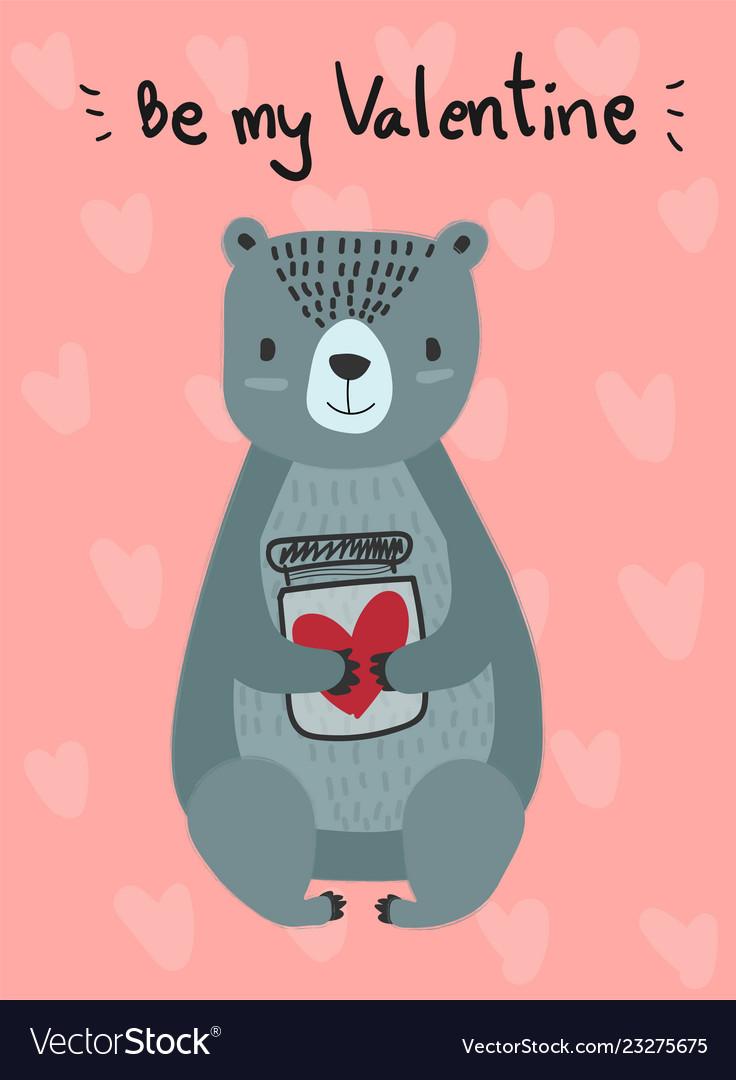 Love card flat design hand drawn blue teddy