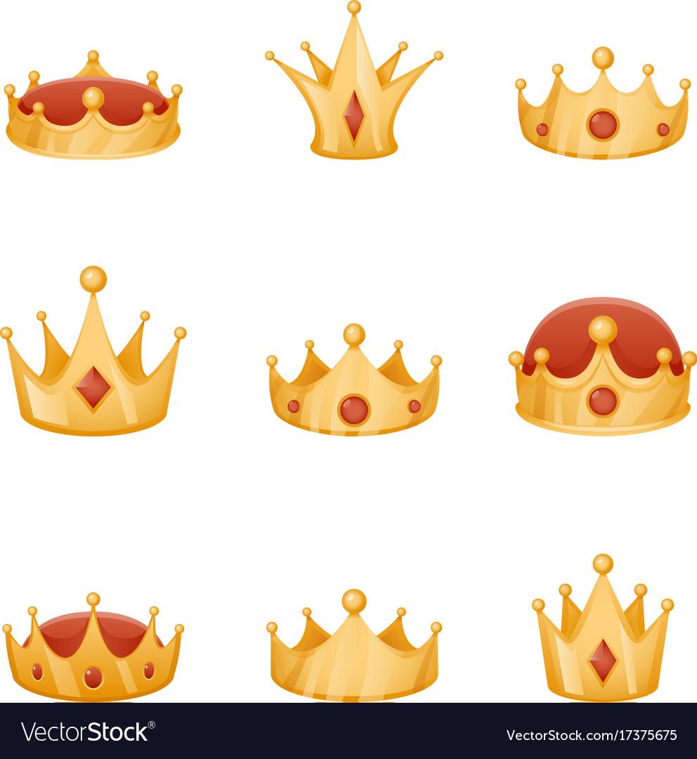 Royal crown head power 3d cartoon icons set