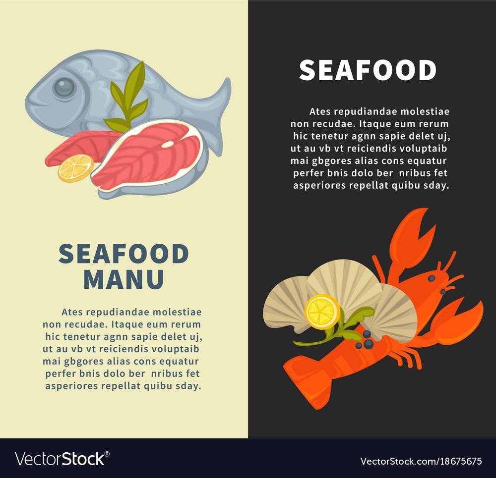 seafood restaurant menu design template for vector image