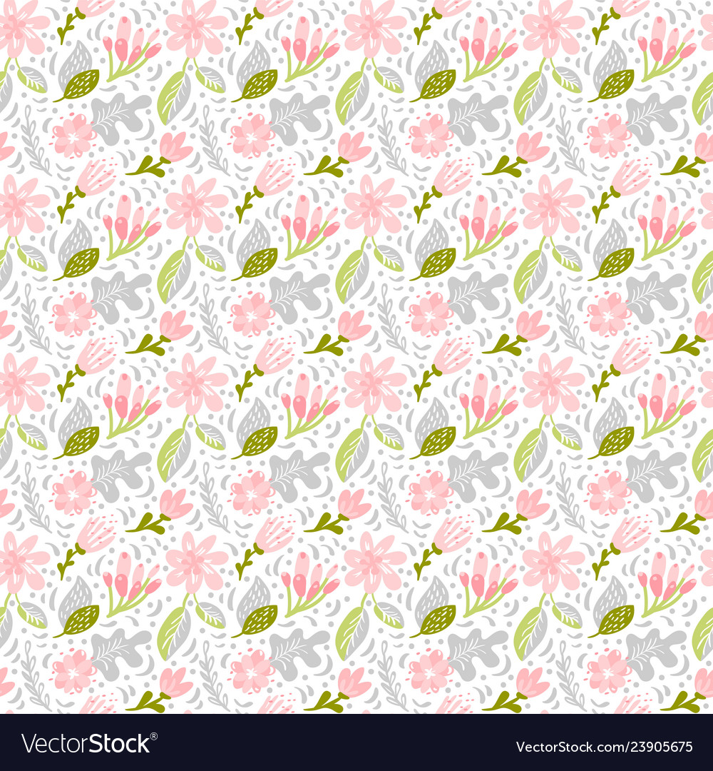 Seamless pattern with flat flower bouquet