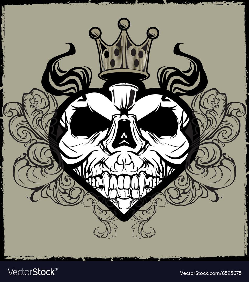 Skull Heart Tattoo vector image