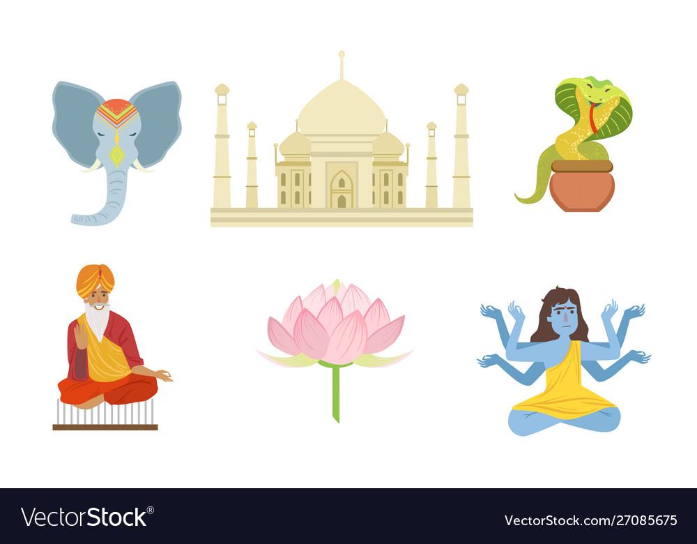 Traditional indian symbols set elephant taj