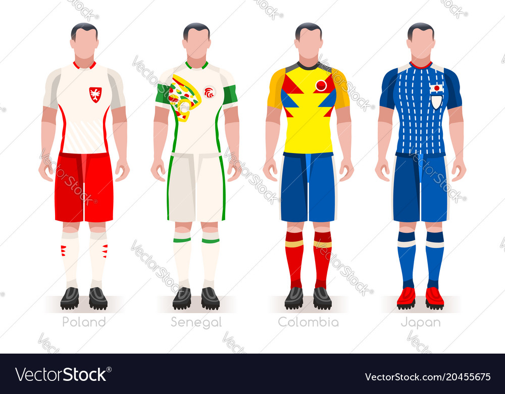 World cup group h jerseys kit Royalty Free Vector Image 22e718d0d