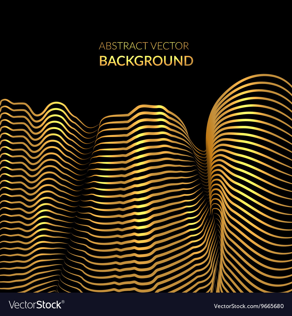 Abstract background with golden shiny waves
