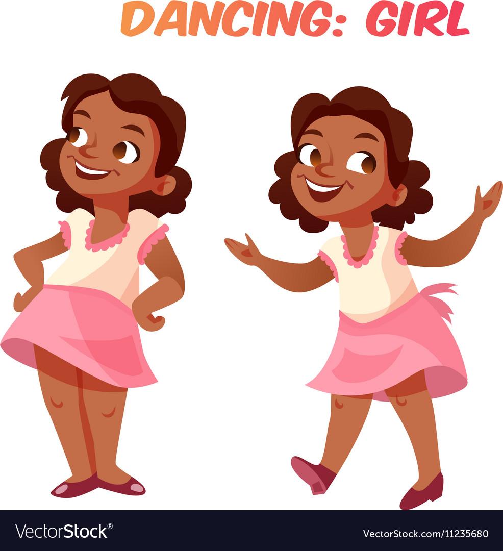 African american dancing cute girl vector image