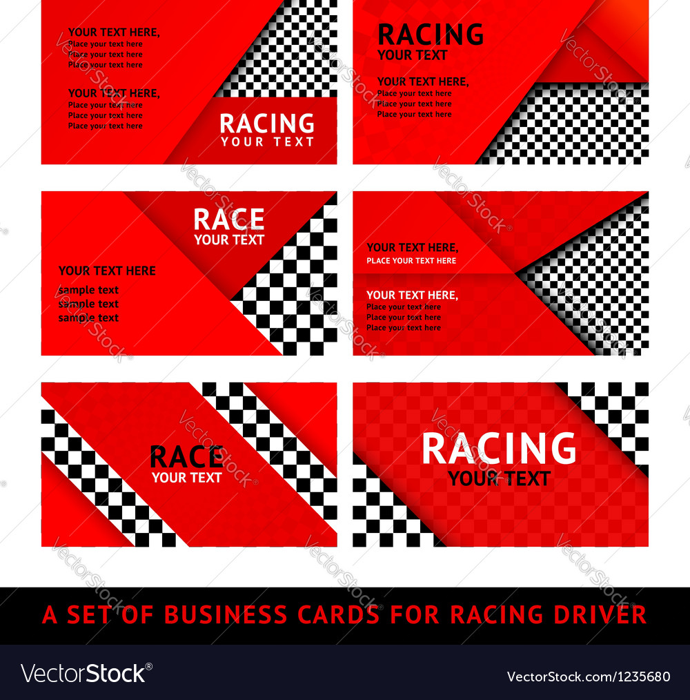 Business card driver race - second set Royalty Free Vector