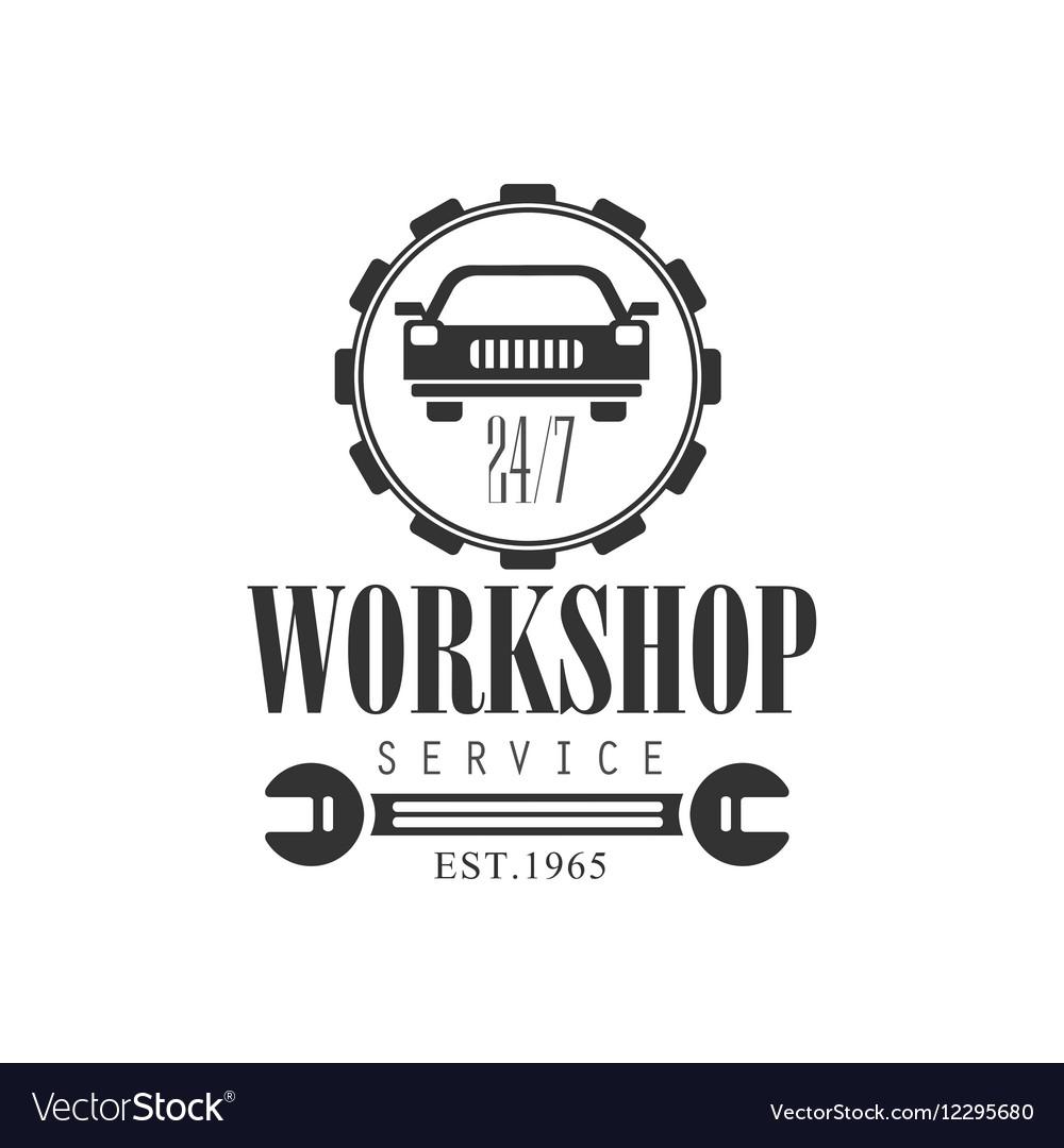 Car Repair Workshop Service Black And White Label vector image