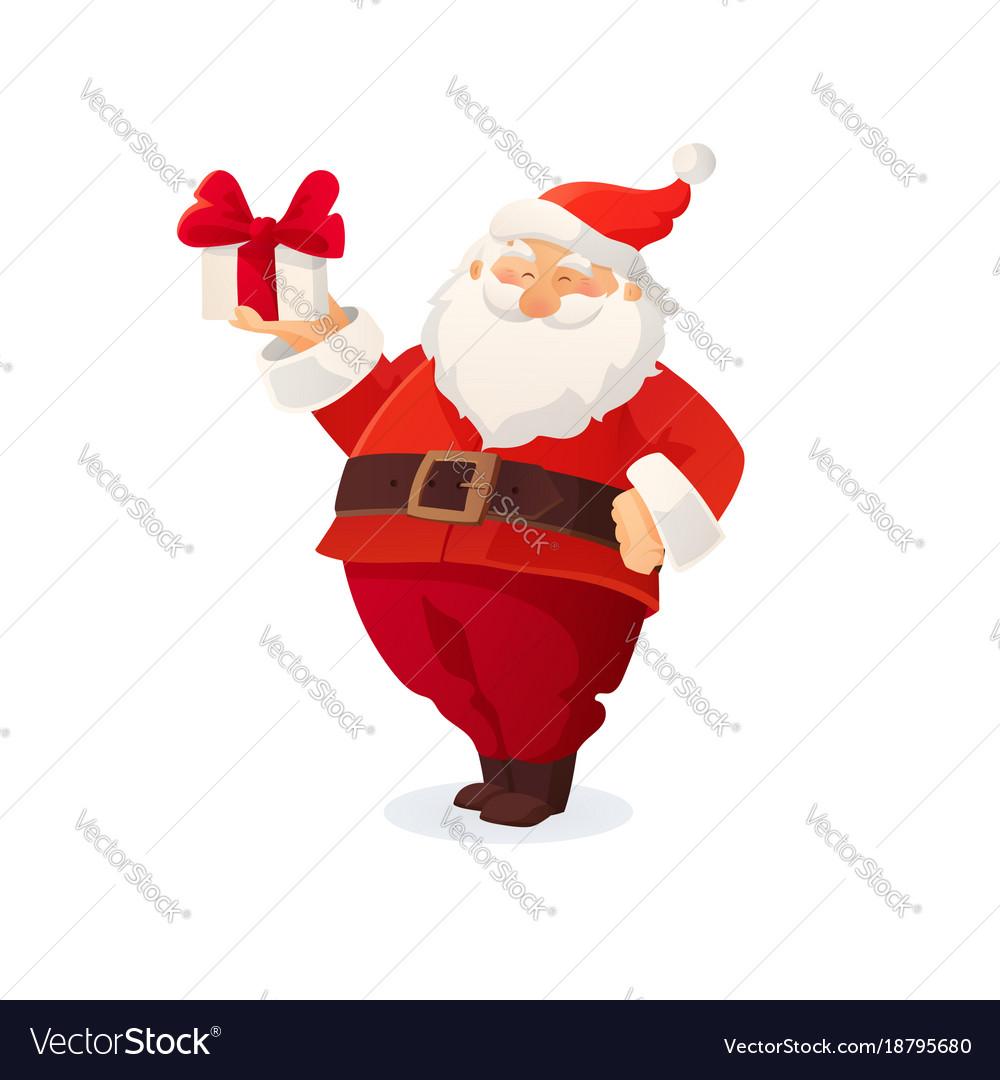 Christmas card funny cartoon santa claus holding