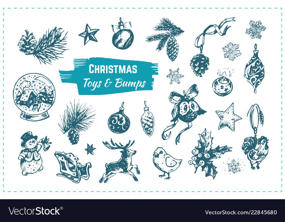 Christmas toys hand drawn icons set