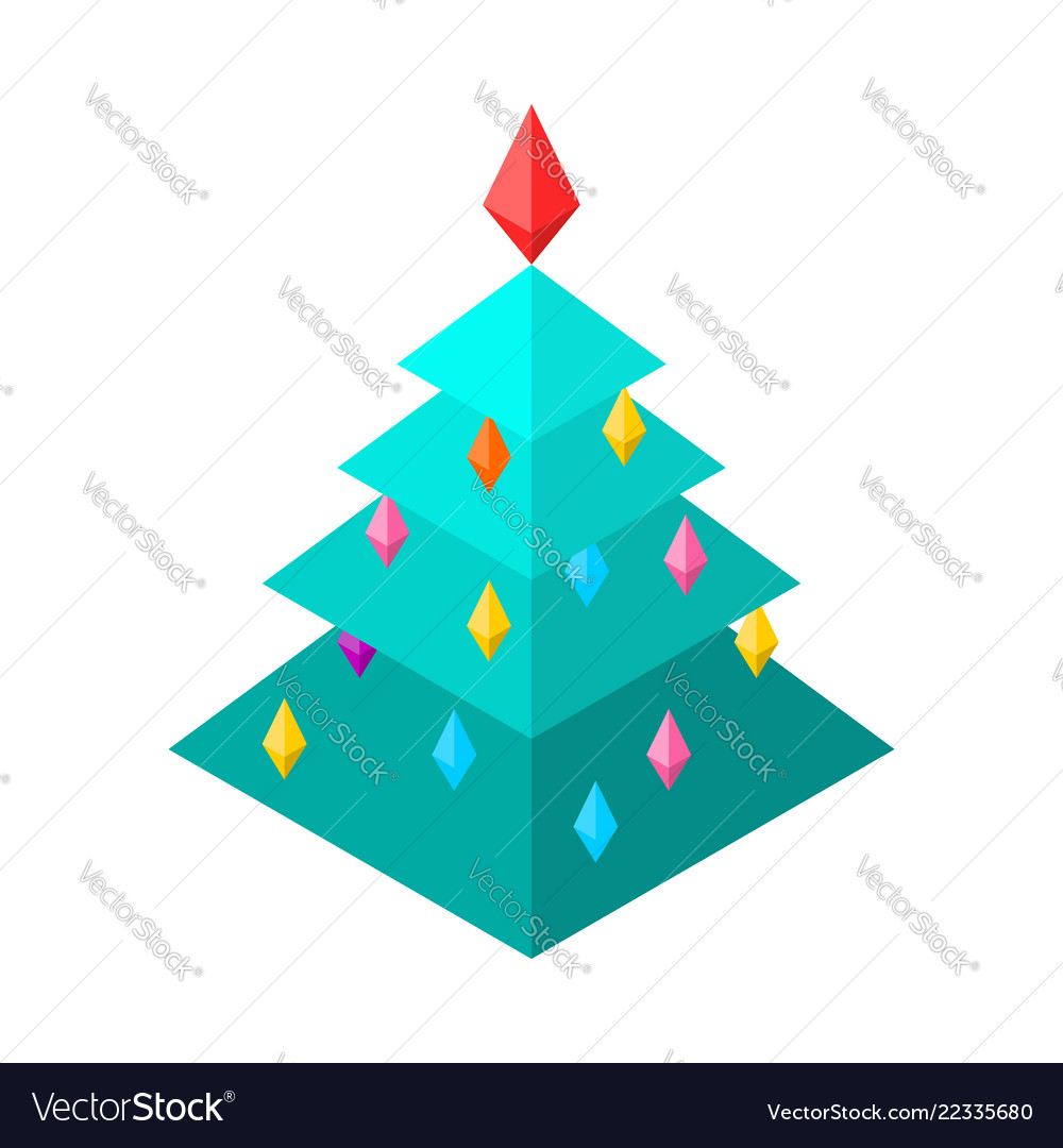 Christmas tree isometric style christmas and new