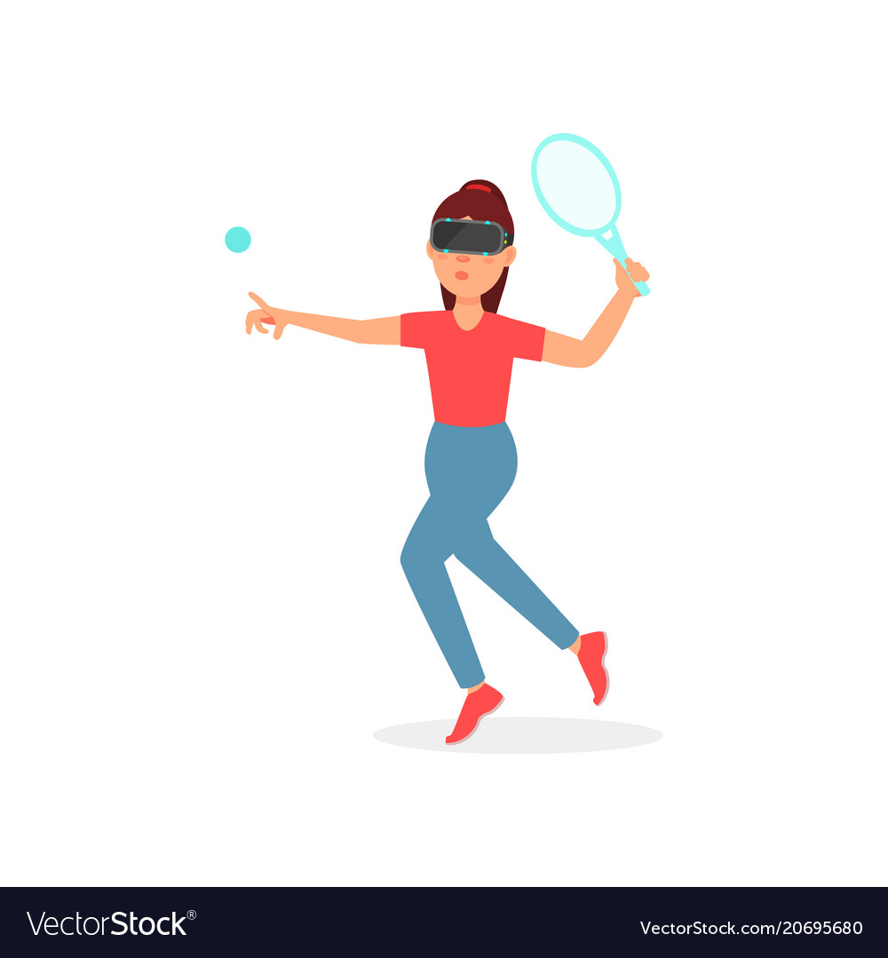 Girl playing tennis in virtual reality with vr
