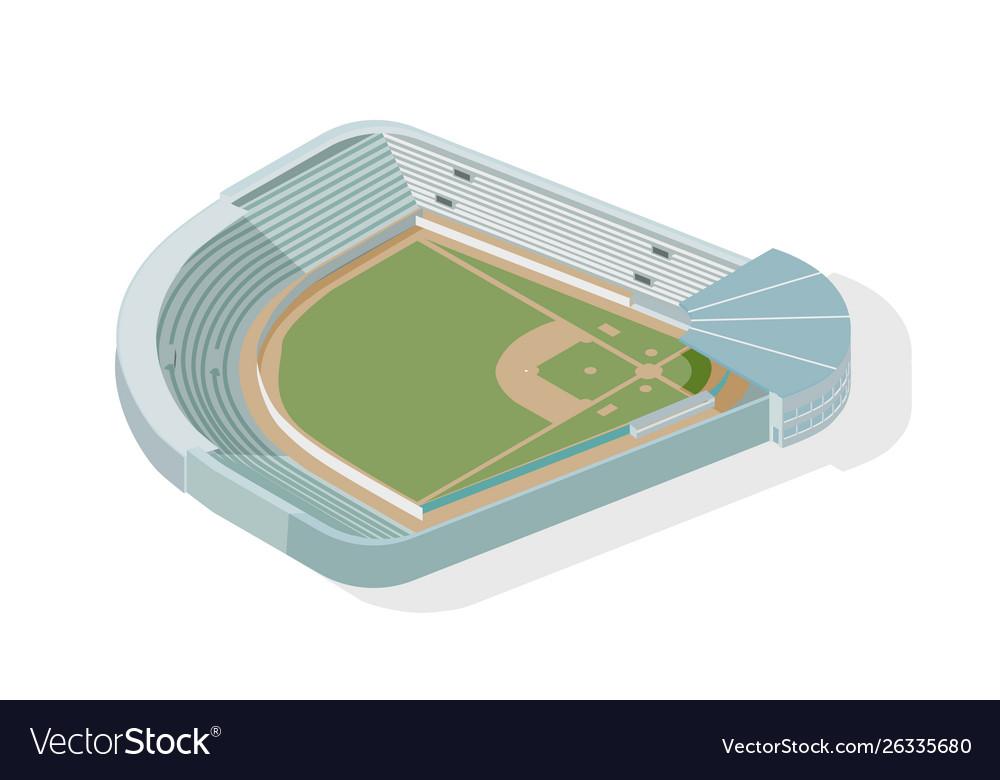 Isometric baseball park ballpark diamond modern