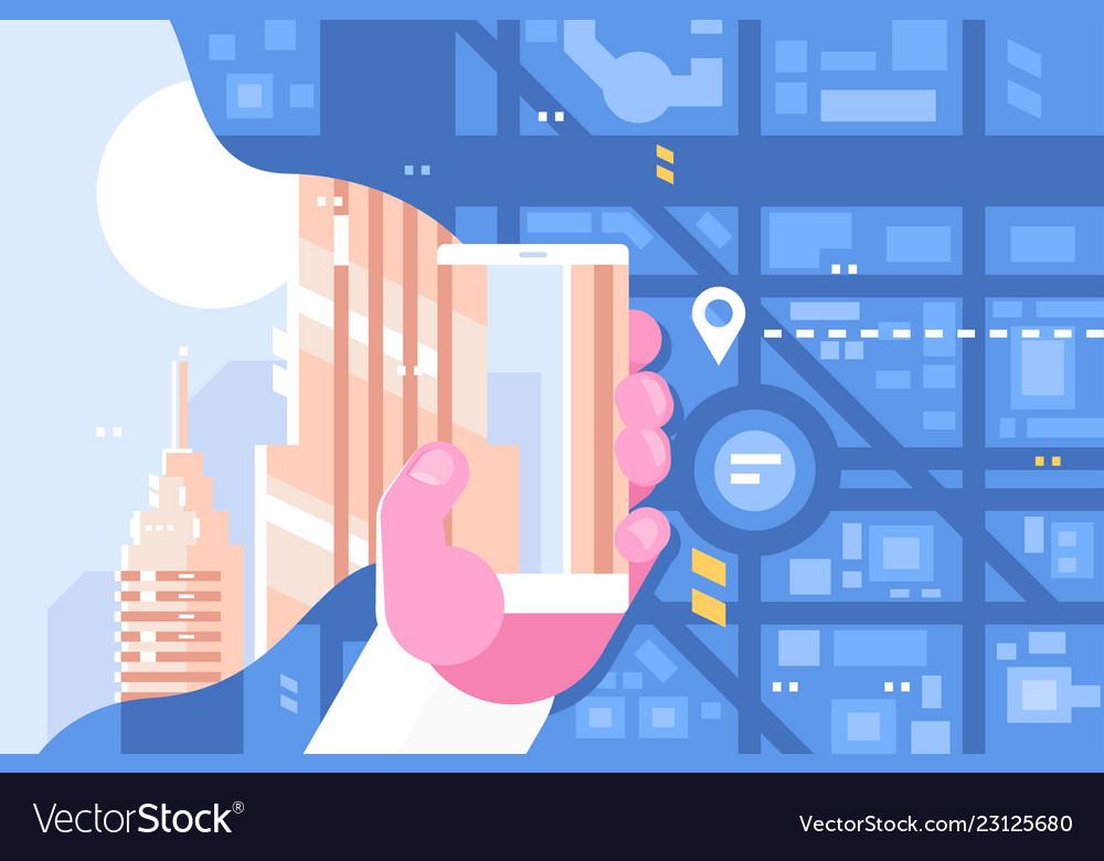 Man plots route using smartphone app
