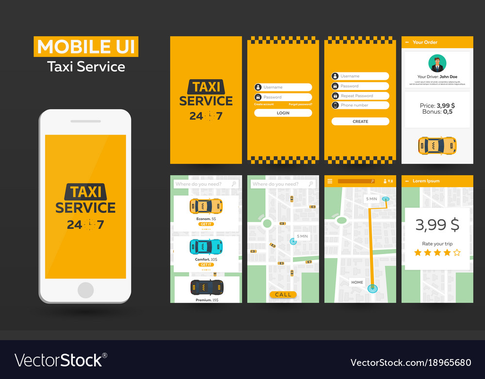 Mobile app taxi service material design ui ux