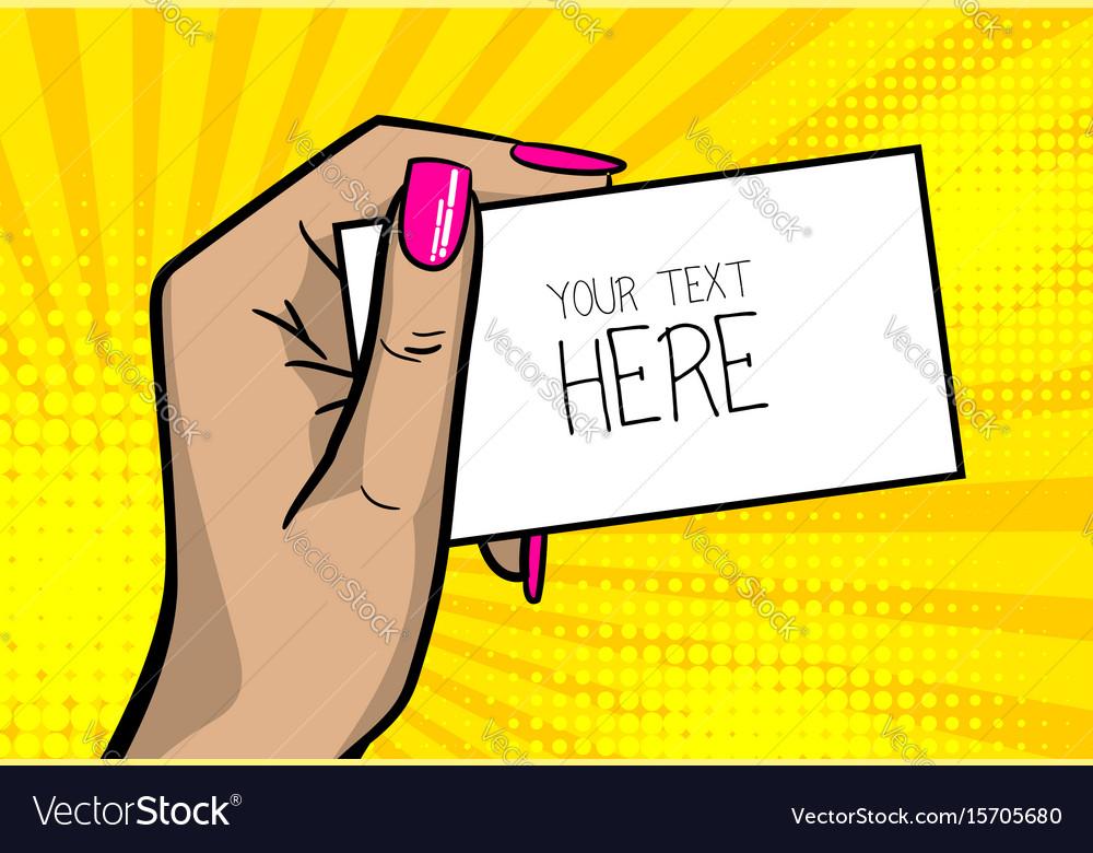 Pop art comic text business card girl woman hand