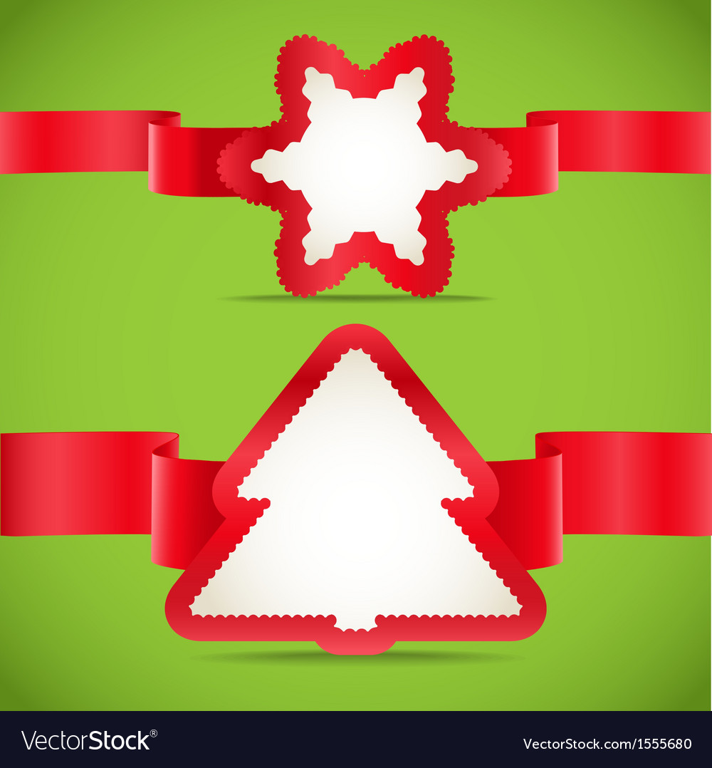 Seasonal greeting cards with red ribbons set vector image m4hsunfo