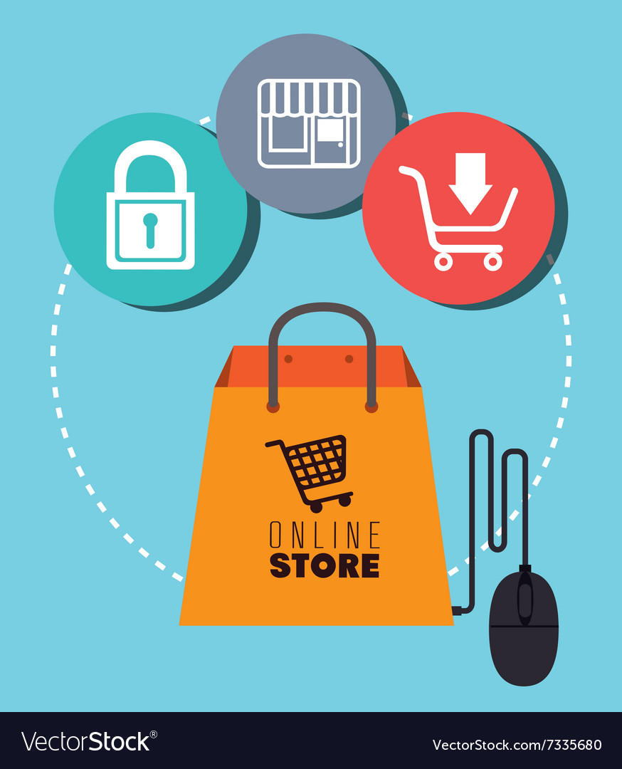 Shopping and digital marketing Royalty Free Vector Image
