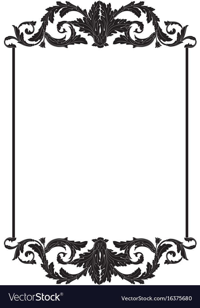 vintage baroque frame scroll ornament royalty free vector