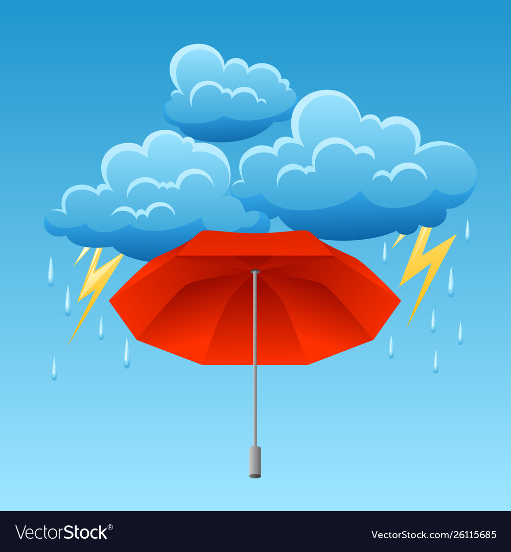 Background with thunderstorm and umbrella