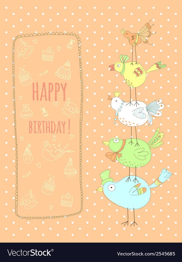 Doodle birthday card with birds